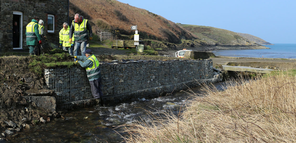 Working on the Gabions - Pembrokeshire Coast National Park